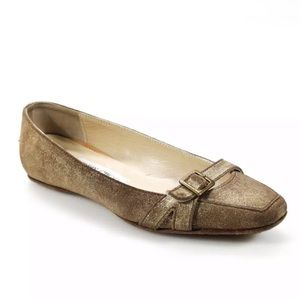 Jimmy Choo Casual Suede Buckle Ballet Flats
